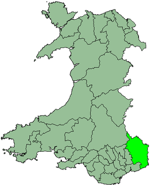District of Monmouth - Monmouth shown within Wales
