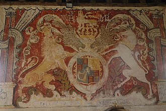 Teddington, Gloucestershire - Mural of the Lion and the Unicorn in St Nicholas' Church, dating to 1689