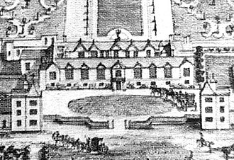 Wanstead Hall - Wanstead House or Wanstead Hall pre 1715, the residence of Sir Josiah Child, 1st Baronet. Detail of the Knyffs' drawing.