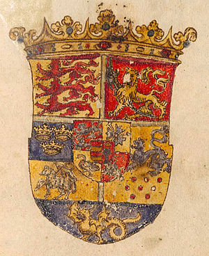 Coat of arms of Denmark - Image: Wappen 1594 BSB cod icon 326 109 crop