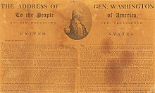 Newspaper showing Washington's Farewell Address