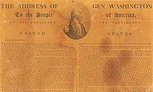 Jornal mostrando o discurso de despedida de Washington