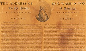 George Washington's Farewell Address - Image: Washington's Farewell Address