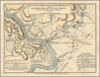 George Washington's crossing of the Delaware River - Map of Delaware River area depicting route George Washington and his Army made during the crossing by William Faden
