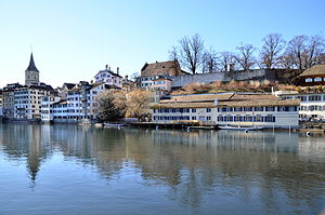 Turicum - Lindenhof hill, Schipfe and the Roman wall of the later Pfalz fortifications, as seen from Limmatquai, Weinplatz to the left.