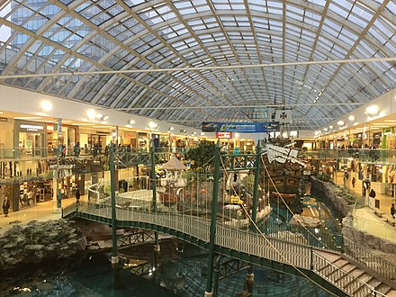 West Edmonton Mall is the largest shopping mall in the Americas. WestEdmontonMall2017.jpg