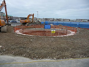 Jurassic Skyline - The groundworks of the tower, seen in December 2011