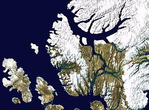 Axel Heiberg Island - Satellite photo montage of Axel Heilberg Island