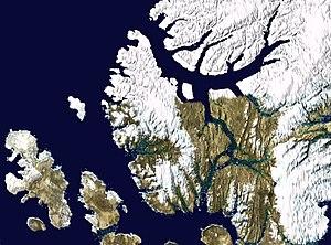 Axel Heiberg Island - Satellite photo montage of Axel Heilberg Island