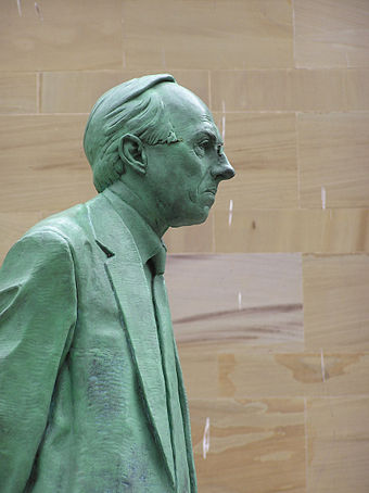 Donald Dewar was the inaugural First Minister of Scotland, and held office from May 1999, until his death in October 2000. Wfm donald dewar statue.jpg