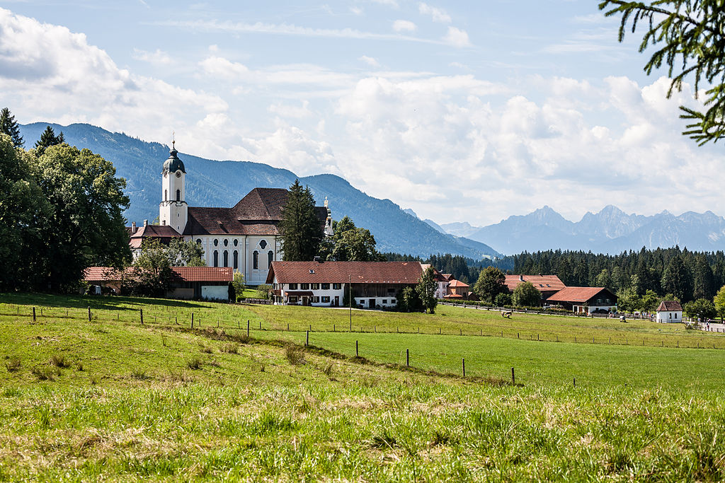 Wieskirche in front of the Alps