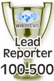 This award is presented to Wikinews reporters upon their 100th published news article.