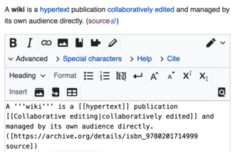 Пример веб-интерфейса: интерфейс редактирования вики-текста в «MediaWiki»
