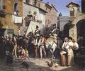 Wilhelm Marstrand - Italienske bønder føres tilfangetagne ind i en lille by i det romerske - 1850.png