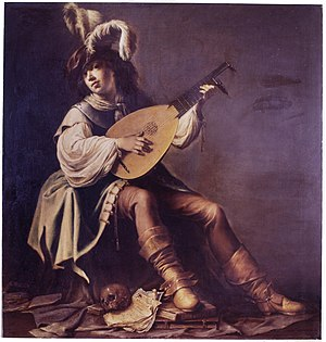 Willem Bartsius - Lute player with skull and books