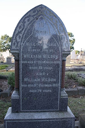 William Wilson (mayor) - Headstone for Wilson and his son William John in the Linwood cemetery