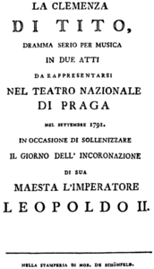 Wolfgang Amadeus Mozart - La clemenza di Tito - title page of the libretto - Prague 1791.png