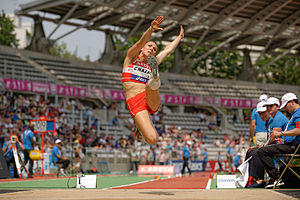Long jump - Emmanuelle Chazal competes in the women's heptathlon long jump final during the French Athletics Championships 2013 at Stade Charléty in Paris, 13 July 2013.