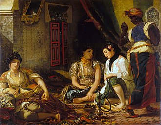 Women of Algiers - Eugène Delacroix, Women of Algiers in their Apartment, 1834, Oil on canvas, 180 × 229cm Louvre