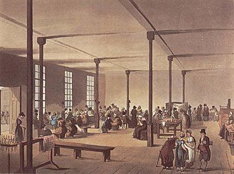 "Nursing home care - Poorhouses/workhouses were the first implemented national framework to provide a basic level of care to the old and infirm. Pictured, is ""The workroom at St James's workhouse"" from The Microcosm of London (1808)."
