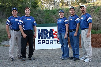 The Bianchi Cup - Pictured above at the 2010 World Action Pistol Championship are (from l. to r.) Jerry Miculek, Carl Bernosky, Julie Goloski-Golob, Bruce Piatt, and 2010 World Action Pistol Champion Doug Koenig