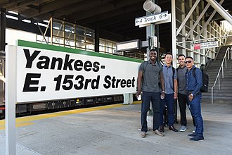 Yankees–East 153rd Street station - Didi Gregorius, Rob Refsnyder, Nick Goody, and Ronald Torreyes at the station.