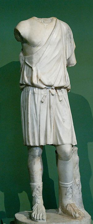 Fustanella - A young man with a chiton. Roman copy of a Greek original of the 4th century BCE.