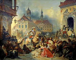 Lovisa von Burghausen - Peter I of Russia pacifies his marauding troops after taking Narva in 1704 by Nikolay Sauerweid, 1859