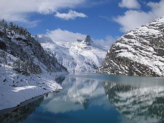 Zervreilasee reservoir located south-west of Vals in the canton of Graubünden, Switzerland