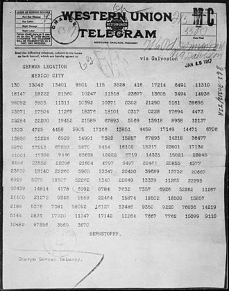 Zimmermann Telegram - The Zimmermann Telegram as it was sent from Washington to Ambassador Heinrich von Eckardt (who was the German ambassador to Mexico)