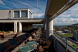 Restaurant on the roof of Bata skyscraper. Zlin - Trida Tomase Bati 21 - Batuv mrakodrap - Bata's Skyscraper 1936-38 by Vladimir Karfik - 17th Floor - View ENE.jpg