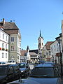 Zwettl, Lower Austria. View in the Landstrasse with the church of the Holy Assumption.jpg