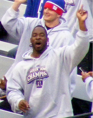 Giants defensive end Justin Tuck at the Giants Super Bowl XLII parade on February 5, 2008. !Justin tuck.jpg