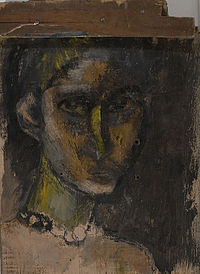 """""""Self portrait with beads"""" 2000, mixed media , gold leaf on wood sm 34X24,5.jpg"""