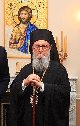 Greek Orthodox Archdiocese of America - Image: Συνάντηση ΥΠΕΞ κ. Δ. Δρούτσα με τον Σεβ. Αρχιεπίσκοπο Αμερικής κ. Δημήτριο