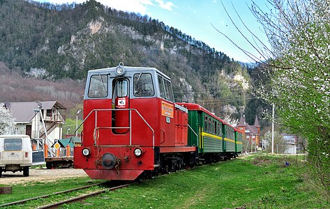 Narrow-gauge diesel locomotive TU8-0427 with the tourist train on station Guamka.