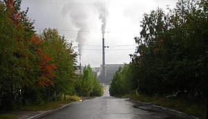 Kovdor - Lenina Street. A view to the chimney of Kovdorsky GOK