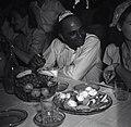 """עתונאי הודי המלווה את ועדת החקירה של האו""""ם , חבוש כיפה , בחדר האוכל של קיבוץ חפץ-חיים-JNF018941.jpeg"""