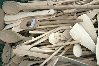 Wooden spoon - A number of wooden spoons, of various construction and purpose.
