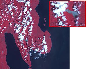 2006 Southern Leyte mudslide - Advanced Spaceborne Thermal Emission and Reflection Radiometer (ASTER) on NASA's Terra satellite with this view of the landslide that buried a town.