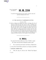 116th United States Congress H. R. 0000218 (1st session) - Death Tax Repeal Act.pdf