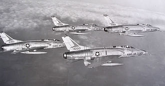 127th Command and Control Squadron - 127th TFS F-100C 4-ship formation, about 1961