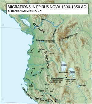 Origin of the Albanians - Albanian migrations in 1300–1350 AD