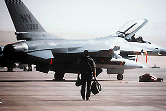 Air National Guard - A New York Air National Guard F-16 pilot from the 174th Tactical Fighter Wing, 138th Tactical Fighter Squadron, prepares to take-off on a combat mission from a Saudi Arabian base, Operation Desert Storm, 1991