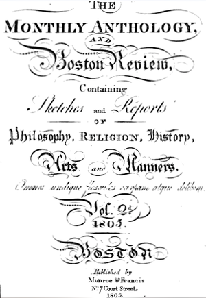Anthology Club - Monthly Anthology v.2, 1805, published by Munroe & Francis, Court Street