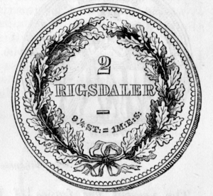 Danish rigsdaler - Reverse of the above
