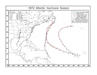 1872 Atlantic hurricane season - Image: 1872 Atlantic hurricane season map