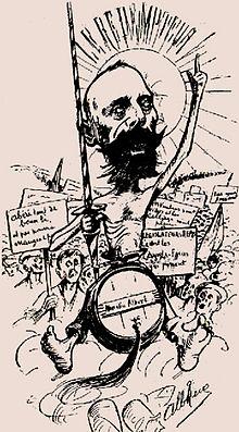 Caricature Representant Marcelin Albert En Don Quichotte Lors De La Manifestation Montpellier