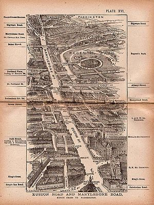 New Road, London - A 1918 street map showing the stretch of the former New Road from Marylebone Road to Euston Road.