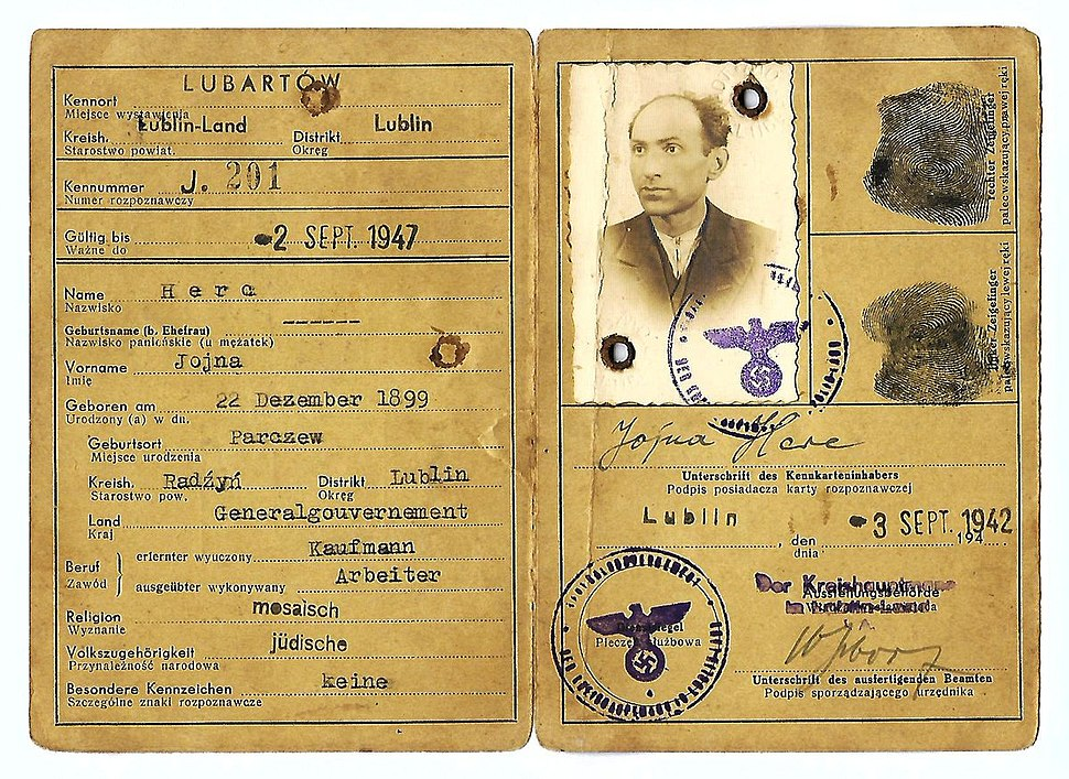 1942 German issued ID to a Jewish man from the area of Lublin who was a slave worker at the Trawniki camp. The holder was murdered during Aktion Erntefest